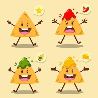 Nachos de dibujos animados lindo con salsa