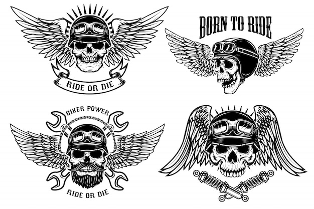Nacido para montar. conjunto de cráneos de motorista con alas y cascos sobre fondo blanco. elementos para logotipo, etiqueta, emblema, letrero, póster, camiseta. ilustración
