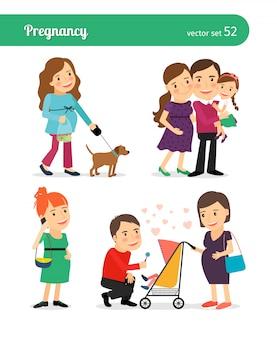 Nacimiento del bebé en familia feliz.