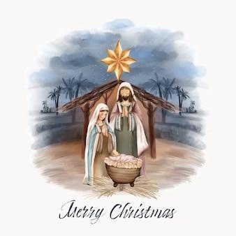 Nacimiento navideño de jesús en el granero