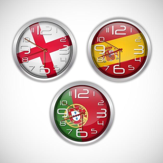 Naciones relojes de pared de bandera