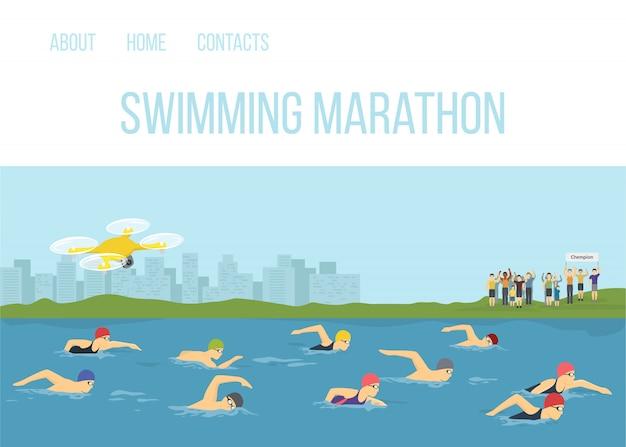 Nadador atletas competencia maraphone en ilustración de dibujos animados de vector de río. deportista de natación estilo libre. eventos de carreras de competición deportiva. la gente nada con los aficionados en la orilla y quadcopter.