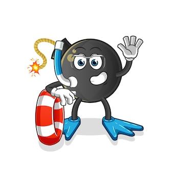 Nadador de bomba con mascota de boya. dibujos animados