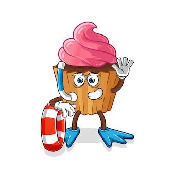 Nadador de pastel de taza con mascota boya