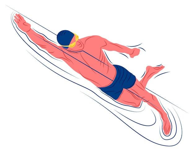 Nadador de vector en la sombra del estilo de líneas nítidas