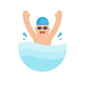Nadando en la piscina
