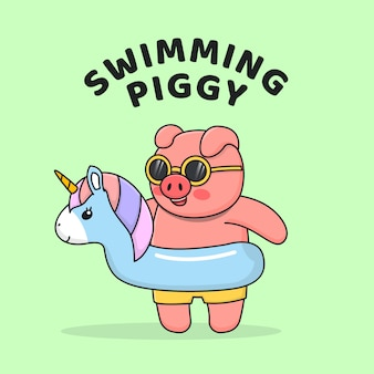 Nadar cerdito con flotador de unicornio