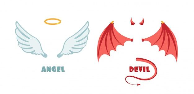 Nadie traje de ángel y demonio. símbolos vectoriales inocentes y travesuras.