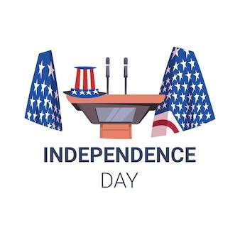 Nadie vacío podio orador tribuna con banderas de ee.uu. y sombrero festivo tarjeta de celebración del día de la independencia americana