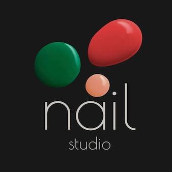 Nail studio business logo vector estilo de pintura de color creativo