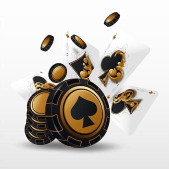 Los naipes y las fichas de póker vuelan en el casino. concepto sobre fondo blanco. ilustración de casino poker