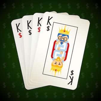 Naipes de negocios. cuatro reyes. casino y juego, póquer y plaza, éxito e idea.