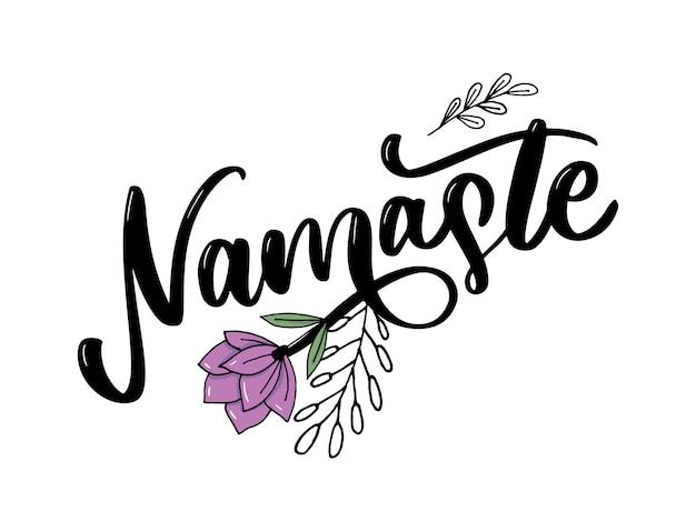 Namaste letras saludo indio, hola en camiseta hindi con letras caligráficas a mano. tipografía inspiradora.