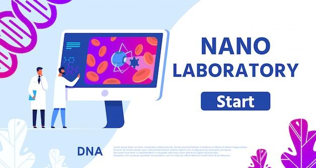 Nano laboratory banner presentando medicina remota.