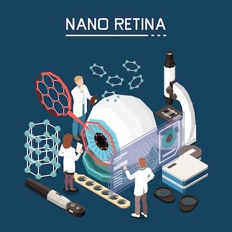 Nanotecnología investigación médica restauración de la vista para personas con discapacidad visual con composición de fondo isométrica de nano retina artificial