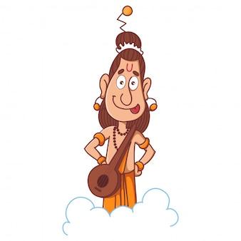 Narad muni con su ilustración de dibujos animados de instrumentos