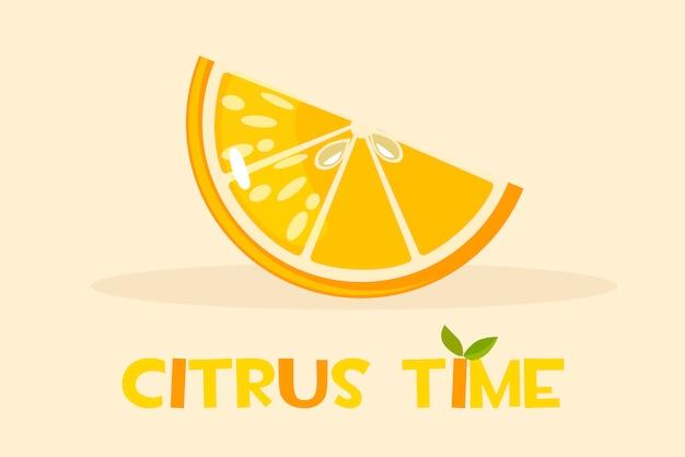 Naranja cítrica. hola ilustración de horario de verano