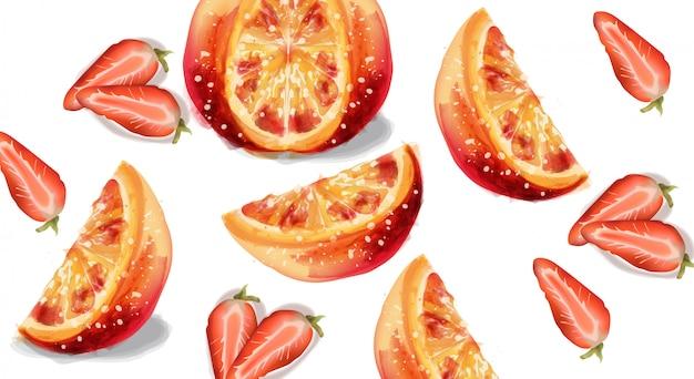 Naranja y fresa en acuarela.