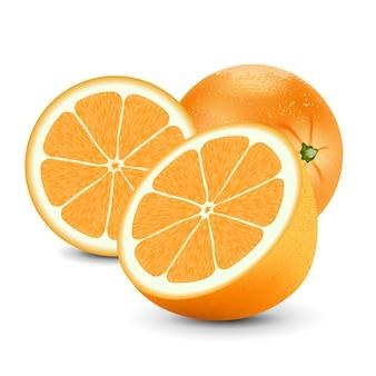 Naranja fresca aislado sobre fondo blanco.