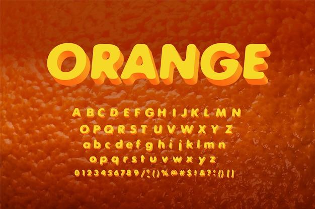 Naranja jugosa tecnología de estilo de conjunto y moderna. alfabeto decorativos y números.