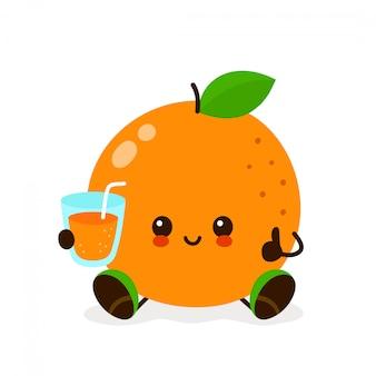 Naranja kawaii con un vaso de jugo