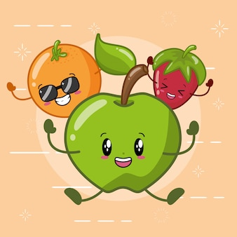 Naranja, manzana verde y fresa sonriendo en estilo kawaii.