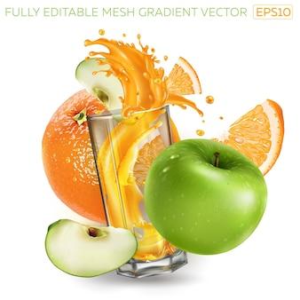 Naranja, manzana verde y jugo de salpicaduras en un vaso.