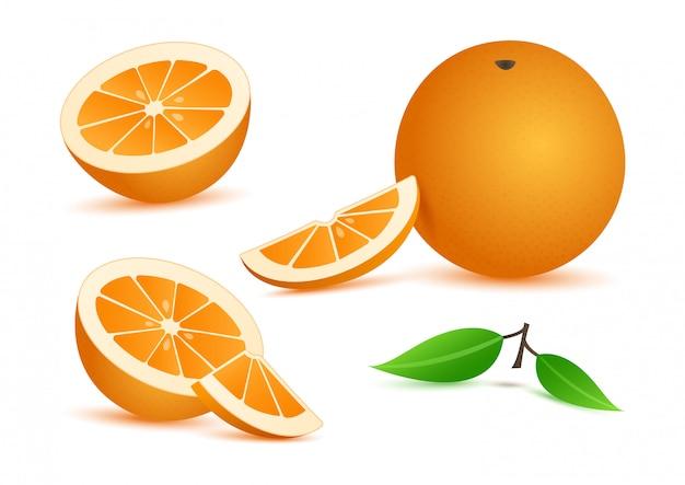Naranja realista con hojas, rodajas de cítricos aislados sobre fondo blanco.