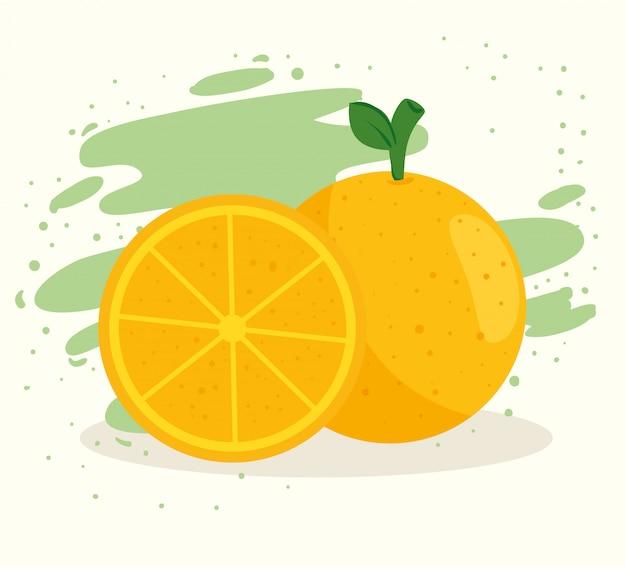 Naranja y rodaja, frutas frescas y saludables.