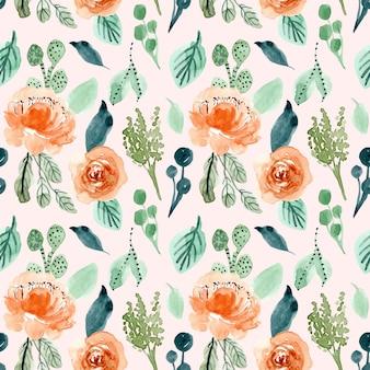 Naranja verde floral acuarela de patrones sin fisuras