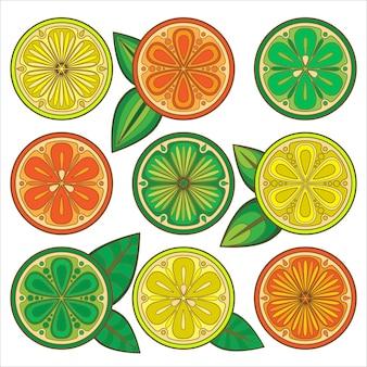 Naranjas decorativas, limones y limas