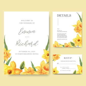 El narciso florece la tarjeta de la invitación de los ramos de la acuarela, ahorra la fecha, casandose las tarjetas de la invitación.