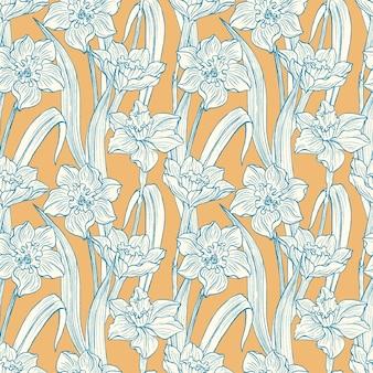 Narciso flores sin fisuras patrón dibujado a mano. flor floral de verano