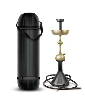 Nargile de oro vector para fumar tabaco de metal con manguera de narguile y bolsa de transporte aislado sobre fondo blanco.