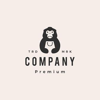Nariz chata, mono, tienda, bolsa, hipster, vendimia, logotipo