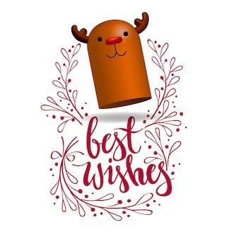 Nariz roja renos 3d personaje ilustración decorativa