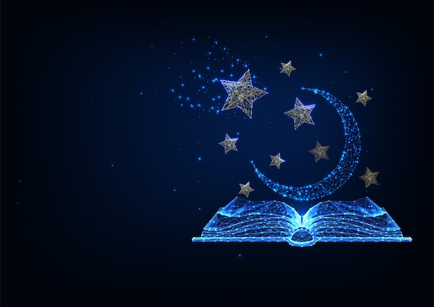 Narración futurista, concepto de historias de misterio con libro abierto poligonal bajo brillante, estrellas y luna aislada sobre fondo azul oscuro.