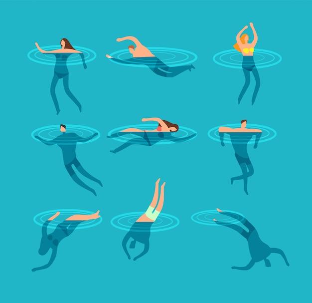 Natación y buceo personas en ilustración de vector de dibujos animados de piscina