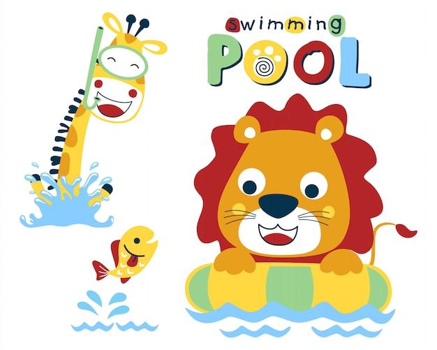 Natación con divertidos dibujos animados de animales.