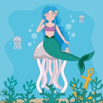 Natación hermosa de la sirena en el mar con diseño gráfico del ejemplo del vector de las medusas