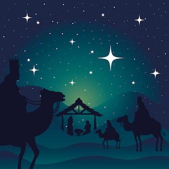 Natividad maría josé bebé y reyes magos en el diseño de fondo verde, tema de feliz navidad