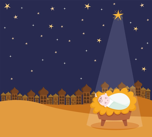 Natividad, pesebre bebé jesús estrella y luz ilustración de dibujos animados