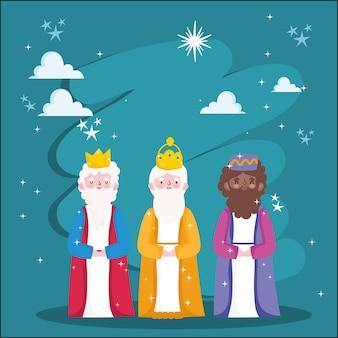 Natividad, tres reyes sabios noche estrellas pesebre ilustración de dibujos animados