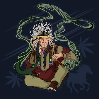 El nativo americano fuma una pipa de cannabis