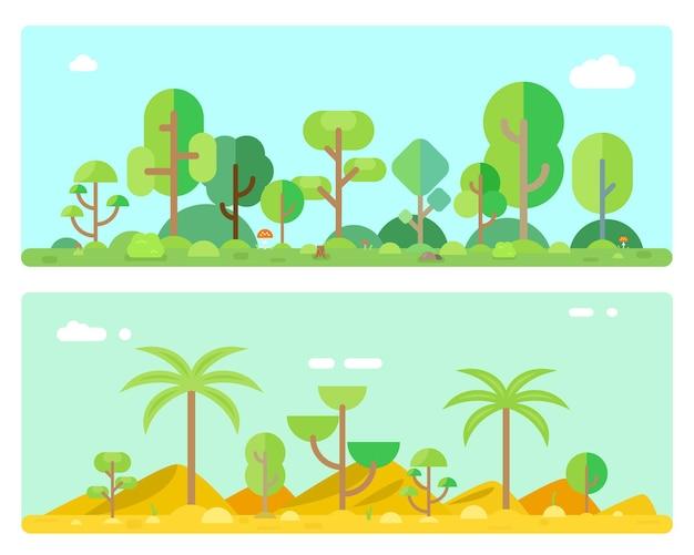 Naturaleza del bosque con arbustos y árboles, ilustración de madera verde de bosque de paisaje