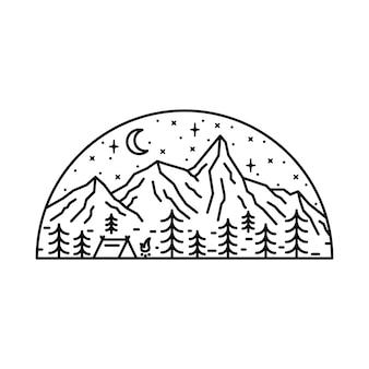 Naturaleza camping senderismo aventura línea ilustración