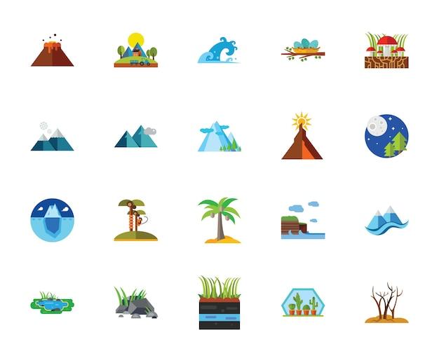 Naturaleza con conjunto de iconos scenics