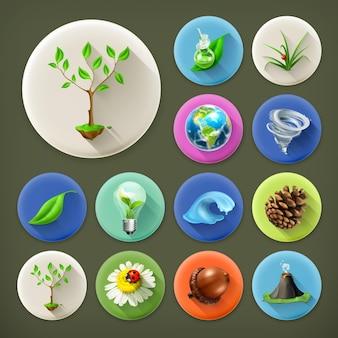 Naturaleza y ecología, conjunto de iconos de larga sombra