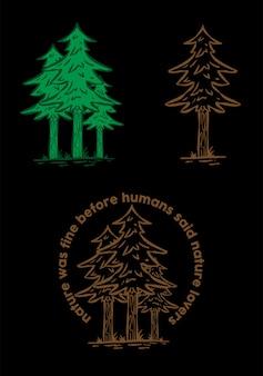 La naturaleza es camiseta fina del diseño retro del diseño de la ropa del vector del árbol de la ilustración