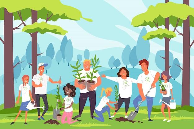 Naturaleza, familia, protección del medio ambiente, concepto de paisajismo.